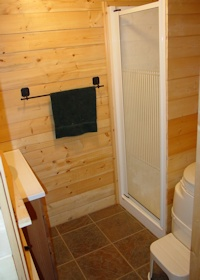 inside the bathroom of the Madrona cabin kit made by bavariancottages.com