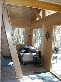 A view of the inside of the Madrona cabin kit made by bavariancottages.com and located on Orcas Island USA