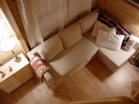 Inside the popular Madrona family cabin kit made by bavariancottages.com