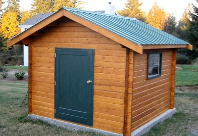 Bavarian Cottages machined log custom shed single door